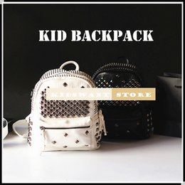 New Fashion Rivet Kid Backpack Rock Style Kids Backpacks Children's Bags Black Punk Children Christmas Gift For Little Child Bag KW-BA082