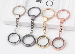 Wholesale 10PCS MM Rhinestones Round Floating Locket Key Chains Glass Living Magnetic Charms Locket Keychain