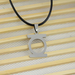 Wholesale 2015 New Movie Jewelry DC SUPER HERO GREEN LANTERN Stainless Steel Leather Chain Pendant Necklace Fashion