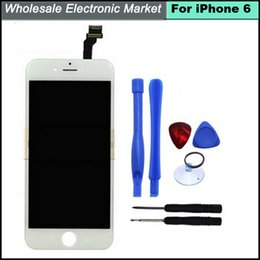 Wholesale-4.7 inch for iphone 6 original LCD assembly screen replacement display touch screen Digitizer for iphone 6 lcd screen White