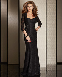 Lace Black Mother of Bride Dress With Jacket Square Three Quarter Sleeve Sheath With Sequin Floor Length Mother's Dress