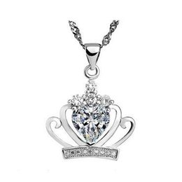 New arrival Wholesale 925 sterling silver crystal jewelry wedding charms crown shaped pendant statement necklaces fashion