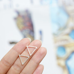 10Pair- S015 Gold Silver tiny geometric line triangle earrings with studs open metal triangle stud earrings jewelry for women