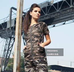 Women Camouflage T-shirts Short sleeve T shirts Cotton tees Modal tops