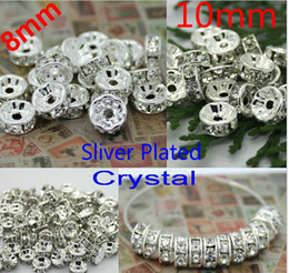 8MM 10MM DIY Crystal Bead Spacer Metal Silver Plated Rhinestone Charms Collar Beads For Jewelry Making ,2 size choose