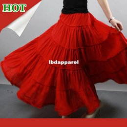 Promotion bohême plissé jupe longue Livraison gratuite! 5 niveaux coutures Gypsy Bohemia BOHO cercle complet danse en coton rouge espagnol plissées jupes Maxi longue avec les femmes