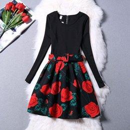 2016 New Arrrival Women Winter Dress Long Sleeve Patchwork Print Autumn Dress Plus Size Evening Party Dress With Belt