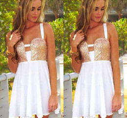 Popular Summer White And Gold Short Party Dresses Spaghetti Straps A line MIni Sequined Sexy Prom Evening Dresses For Yung Girl