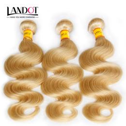 Teñidos haces de pelo de malasia en Línea-Bleach Blonde Color 613 Virgin Hair Extensions Malasia Body Wave Hair Tramas Malasia Humanos Hair Weave Bundles Tangle Free puede ser teñido