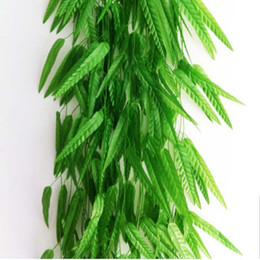 Green Willow Rattan Wicker Bamboo Branch Leaf Simulation Leave Vine Hanging Home Decoration Artificial Flowers 180cm 20Pcs Leave