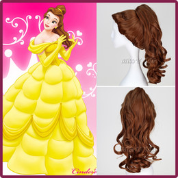 Wholesale Beauty And The Beast Cartoon Princess Belle wig Synthetic Long Curly Wig Brown Cosplay Anime Wig Ponytail