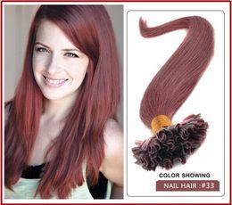 "wholesale -5A 1g s 100g pack 14''- 24"" Keratin Stick u Tip Human Hair Extensions Peruvian hair 33# dark auburn dhl Fast shipping"