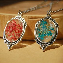 Wholesale Fashion Glass Dry Real Flowers Pendant Necklaces D Red Blue Small Dried Pressed Flowers Pendants Antique Silver Tone Chain nxl013