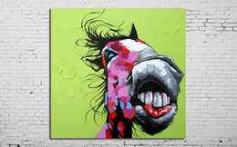 Wholesale Hand Painted Wall Art Picture Oil Painting On Canvas High Quality Funny Horse Paintings Home Decoration Wall Pictures For Living Room