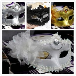 Woman with Girl Mask Costume Christmas Party Mask for carnival Masquerade dance Venice Mask Side Feather flower Masks LH-XMA005