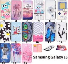 Wholesale Owl Flower Game Machine Camera Painted Wallet Stand Credit card Leather Case cover FOR Samsung Galaxy J5 GALAXY On5 O5 G5500 MOTO G3