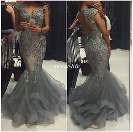 Lace Beaded Prom Dresses Mermaid High Neck Open Back Arabic Style Long Fitted Bridal Party Evening Dresses 2019 Plus Size Formal Gowns