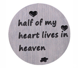 New 10PCS lot Half Of My Heart Lives In Heaven Stainless Steel Floating Locket Plates For 30mm Magnetic Glass Charms Lockets