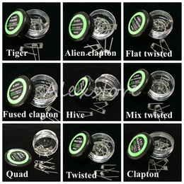 Wholesale Flat twisted wire Fused clapton coils Hive premade wrap wires Alien Mix twisted Quad Tiger Different Heating Resistance box for Ecig