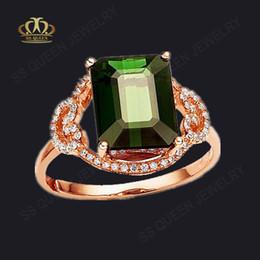 Hot vente 18k gros plaqué or rose argent précieux rectangle vert royal anneaux de tourmaline pour les femmes (timbre 925) à partir de bague en or tourmaline verte fabricateur