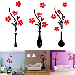 Wholesale New D Vase Plum Flower Tree Crystal Arcylic Wall Sticker Home Room TV Decor Wall Decoration