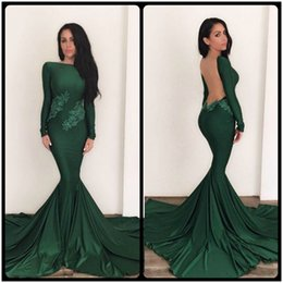 Modest 2016 Emerald Green Mermaid Long Sleeve Evening Dresses Sexy Back Formal Prom Party Pageant Gowns With Lace Appliques