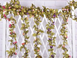 Wedding decoration New 2015 Artificial Fake Silk Rose Flower Vine Hanging Garland Wedding Home Decor For FZH085