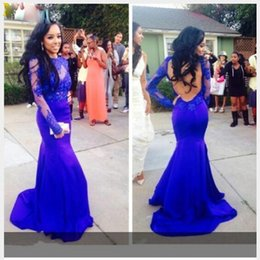 New Fashion Elegant O Neck Mermaid Royal Blue Prom Dresses Long Sleeves Appliqued Open Back Evening Gown
