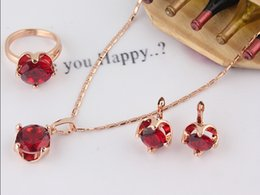Free Shipping Fashion New Women's 18k Rose Gold Filled Red Garnet Necklace Earring Ring Wedding Bride Jewelry Set Gift