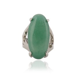 Wholesale 25 piece High Quality Natural Stone Ring Charm Green Stone Green Zinc Alloy Ring Street Vendors Sell Like Hot Cakes