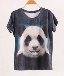 Crème glacée animale à vendre-FG1509 Vente chaude à manches courtes femmes T-shirt 3D Tops Tees 2015 Taille T-shirtPlus Leopard Dog Panda animaux Ice Cream Elephant Women