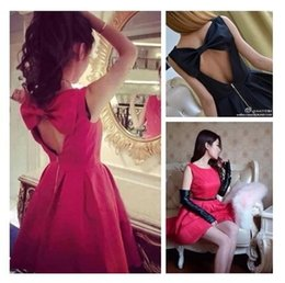 2015 Summer Style Summer Dress New Arrival Bow Mini Sexy Backless Dresses Sleeveless Casual Slim Womens Dress Black Red Dresses