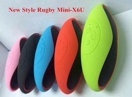 Wholesale Mini X6U X6 Rugby Football Stereo Speaker Subwoofers Mini Portable Soccer Wireless Bluetooth V3 Speakers With U Disk TF Card Mic FREE DHL