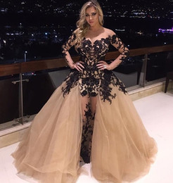 Sexy See Through Dresses Evening Wear With Long Sleeves Black Lace Appliques Ruched Champagne Tulle Plus Size Zuhair Murad Formal Prom Gowns