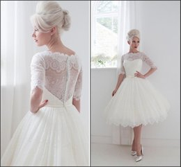Wholesale 2015 Half Sleeve A line Sheer Weddding Dresses House of Mooshki Lace custom made knee length Covered button China Ball Gown Bridal Gowns