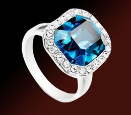 noble blue diamond square lady's rings all size (xysppfh )
