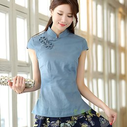 Shanghai Story Blue national chinese style top tradition chinese cheongsam Qipao Shirt traditional Chinese Top Linen blouse For Woman