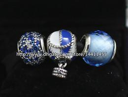 925 Sterling Silver Charms and Murano Glass Bead Set Fits European Pandora Jewelry Charm Bracelets-Sky Sets