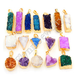 New Charm Gold-plated Dyed Rock Crystal Quartz Druzy Triangle Heart Round Pendant Accessories Reiki Amulet Fashion Jewelry 10Pcs lot Mix