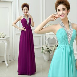 Fashion Halter V-Neck A-Line Party Dresses Pleated Beadings Sleeveless Custom Made Formal Long Bridesmaid Dresses