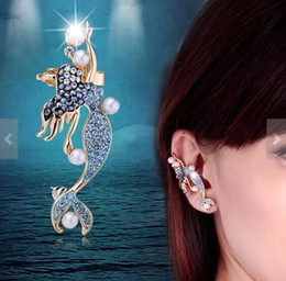 Mermaid angel blue diamond ear clips South Korea imported jewelry girl dance beautifully detailed YP0743
