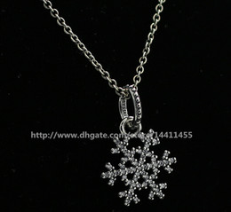 DIY Loose Beads Necklace 925 Sterling Silver Charm Pendant Necklace With European Pandora Style Charms and Beads Pendants- Snowflake