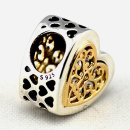 Locked Openwork Heart 14K Gold Heart Filigree Pattern 100% 925 Sterling Silver Beads Fit Pandora Charms Bracelet DIY Fashion Jewelry