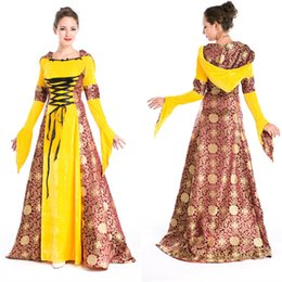 Women's Yellow Medieval Renaissance Gothic Costume Hooded Long Dress Costumes Gypsy church Notre Dame Cosplay Dress Free Size Freeshipping
