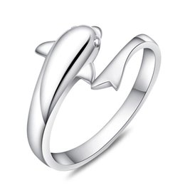 Free shipping simple cute 3D dolphin single ring open design new girl woman gift sterling silver jewelry