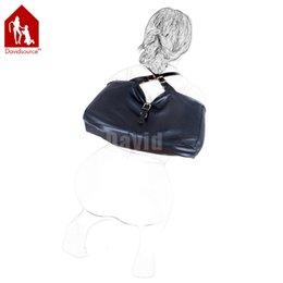 Wholesale Davidsource Black Leather X Back Hands Positioning Bondage Lockable Bag Submissive Slave Dog Pig Humiliation BDSM Body Fix Kit