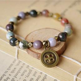Exotic Copper Button Pendant Bracelets Natural Agate Beads Charm Bracelets Religious Indian Tribal Surfer nsl04