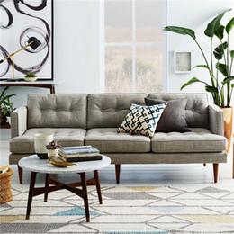 Feibo neo-classical post-modern wood furniture living room furniture custom three-seat sofa fabric sofa