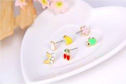 Wholesale Earrings New Best Multi element snow pear apple banana cute butterfly little stud earrings six piece Gifts for women Cheap