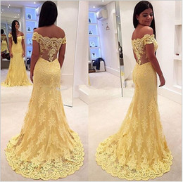 2017 Yellow Vestido de festa Mermaid Prom Dresses Off Shoulders Floor Length Illusion Back Long Evening Dress Party Dresses